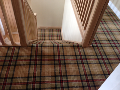 Check carpet on stairs and landing