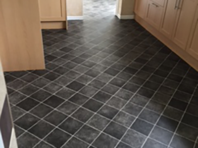 Slate effect vinyl flooring in kitchen